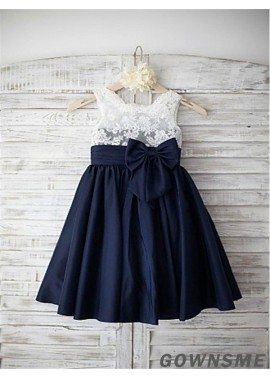 A-line/princess Straps Floor-length Chiffon Flower Girl Dress with Bowknot-Gownsme