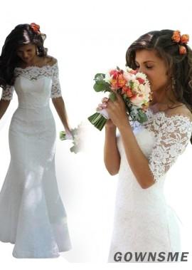 Trumpet/Mermaid One Shoulder Court Train Lace Wedding Dress-Gownsme