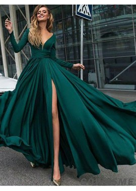 V-neck Floor-Length Satin long sleeves Prom Dresses With Split Front-Gownsme