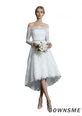A-line/princess Off-the-Shoulder Asymmetrical Lace Wedding Dress With Beading-Gownsme