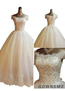 Ball-Gown/Princess Off-the-shoulder Sweep Train Tulle Lace wedding dress with Beading Applique-Gownsme