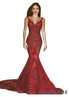Gownsme Red Mermaid Long Formal Evening Dresses For Women 2021