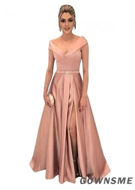 A-Line Off-the-Shoulder v-neck Floor-Length Satin Prom Dresses With Split Front Pockets-Gownsme