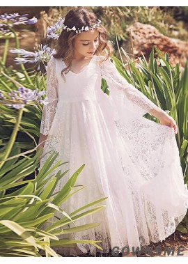 A-line/princess V-neck Floor-length Lace Flower Girl Dress with Long sleeves-Gownsme
