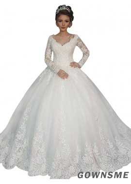 Ball-Gown V-neck Court Train Tulle Lace Wedding Dress With Sleeves-Gownsme