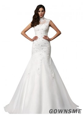 Trumpet/mermaid High neck Sweep train Organza wedding dress with Beading-Gownsme