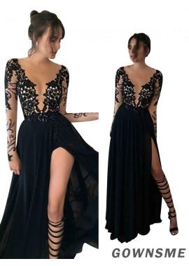 A-line/princess Sheer neck Floor-length split front Chiffon Lace Prom Dress-Gownsme