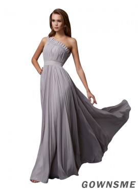 Gownsme One Shoulder Long Prom Evening Dresses With Ruched