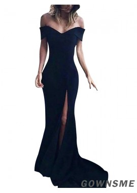 Trumpet/Mermaid Off-the-Shoulder  Prom Dresses With Split Front-Gownsme