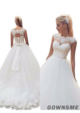 Ball-Gown/Princess Scoop Neck Sweep Train Tulle Lace Wedding Dress With Lace-Gownsme