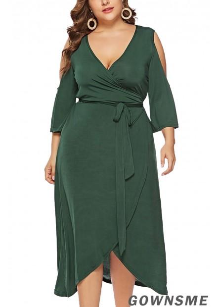 V Neck Wrap Cold Shoulder Tied Sexy Plus Size Overlap Dress