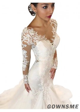 Trumpet/Mermaid V-neck Floor-Length Tulle Lace Wedding Dresses with Long Sleeves -Gownsme