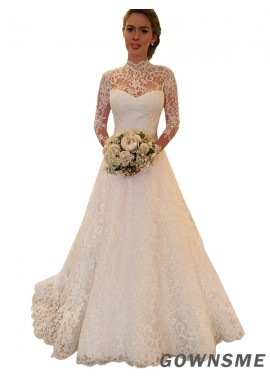 Ball-gown High neck Court train Lace Wedding dress With appliques Lace -Gownsme