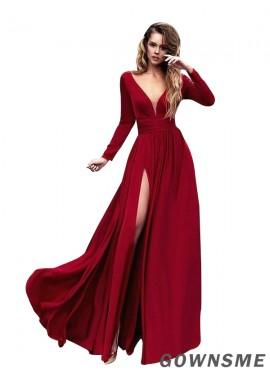 A-line/princess V-neck Floor-length Satin split front prom dress with Ruffles-Gownsme