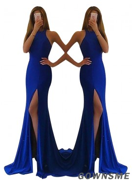 Gownsme Cheap High Neck Royal Blue Long Prom Gowns In Size 16