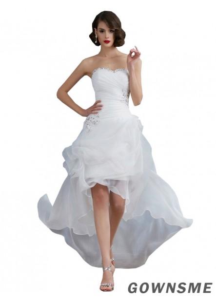 A-line/princess Sweetheart Asymmetrical Organza Wedding Dress with Ruffle Beading Sequins-Gownsme