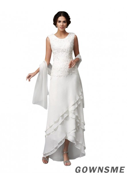 A-line/princess Scoop Ankle-length Sleeveless Chiffon Lace Mother Of The Bride Dress-Gownsme