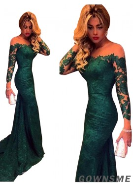 Gownsme Green Mermaid Long Prom Evening Dresses With Long Sleeves