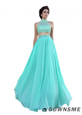 Gownsme Two Piece High Neck Green Long Prom Dresses
