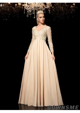 Gownsme Shop Women Long Prom Evening Dresses With Long Sleeves