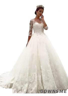 Ball-Gown lace Off-the-Shoulder Chapel Train Tulle Lace Wedding Dress-Gownsme