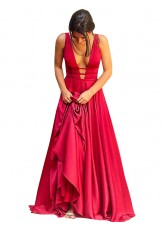 Deep V-neck Halter Sweep Train silk like satin Evening Dresses -Gownsme