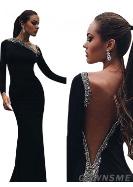 Gownsme Black Long Sleeves Sheath Women Mermaid Formal Evening Dresses