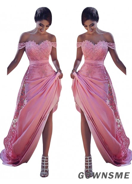 Off-the-Shoulder Sweep train Silk like satin Prom Dresses-Gownsme