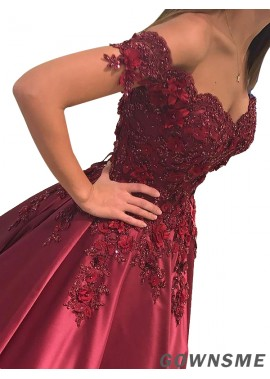Off-the-Shoulder Floor-Length Satin Prom Dress With Beading-Gownsme