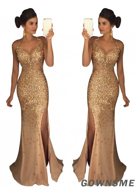 Gownsme The Gold Long Prom Evening Dresses For Women 2021