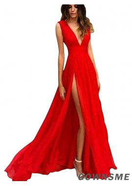 Gownsme V Neck Red Simple Long Prom Evening Dress For Party