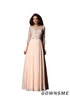 A-line/princess Scoop train Floor-length Chiffon prom dress with 3/4 sleeves- Gownsme