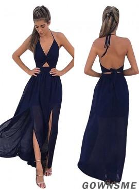 A-line/princess V-neck Floor Length Sleeveless Chiffon Prom Dresses-Gownsme