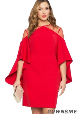 Flare Sleeve Mesh Sexy Bodycon Plus Size Dress-Gownsme