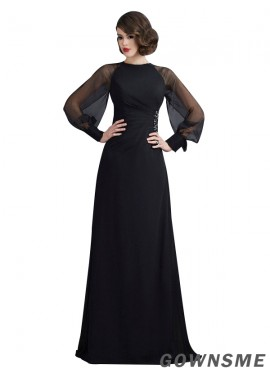 Gownsme Black Long Sleeves With Scoop Neck Long Prom Evening Dresses