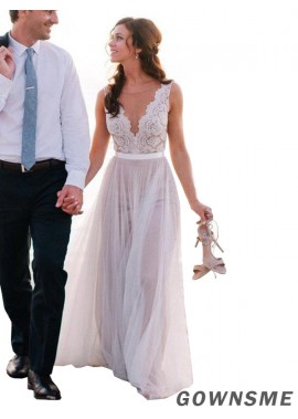 A-Line V-neck Floor-Length Tulle Lace bohemian Wedding With Beading Sequins Dress-Gownsme