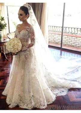 A-line/princess Illusion Chapel train Tulle Lace Wedding Dress with Appliques-Gownsme