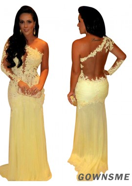 Gownsme One Shoulder Lace Long Prom Evening Dresses