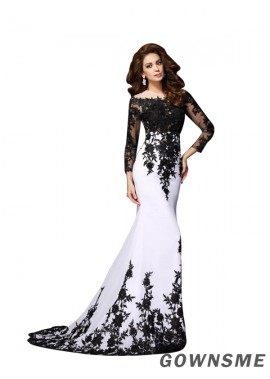 Trumpet/Mermaid Scoop Neck Sweep Train Chiffon Lace Prom Dresses with long sleeves-Gownsme