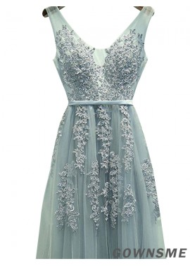 Gownsme V Neck Long Prom Evening Dresses With Lace Flower Sale