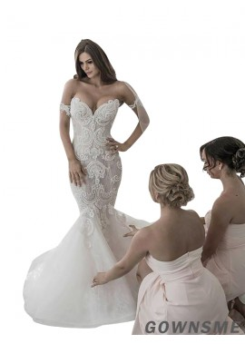 Trumpet/Mermaid Off-the-Shoulder Court Train Tulle lace Wedding Dresses-Gownsme
