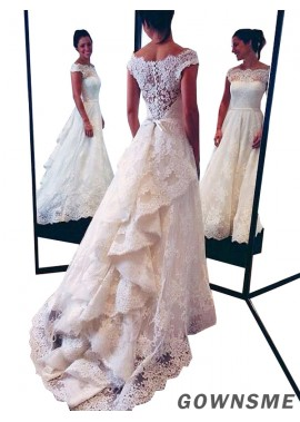 A-Line Scoop Neck Court train Tulle Lace Wedding Dress With Cascading Ruffle Lace-Gownsme