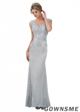 Sheath V-neck Full length Lace Mother Of The Bride Dress-Gownsme