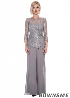Full length Illusion Lace chiffon Mother Of The Bride Pants Suits -Gownsme