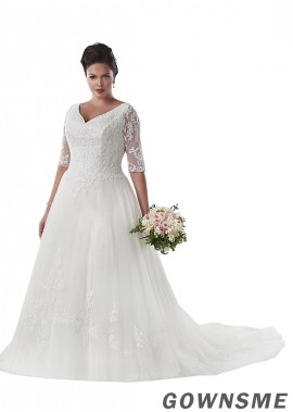 Gownsme Plus Size Elegant Wedding Dresses With Train