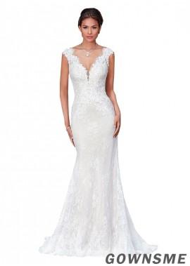 Mermaid/trumpet V-neck Chapel train Full length Lace Wedding Dress -Gownsme