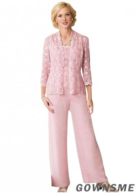 Scoop Full length Lace chiffon Mother Of The Bride Pants Suits with Coat-Gownsme