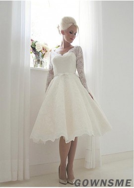 Gownsme Short Lace Wedding Dress With Long Sleeves