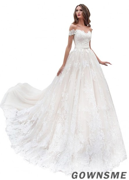 Princess Off-the-Shoulder Sweep Train Tulle Lace Wedding Dress-Gownsme