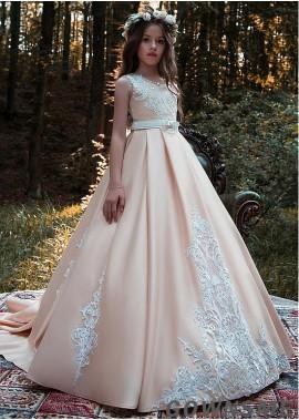 Ball gown Scoop Floor-length Satin Flower Girl Dress with belt-Gownsme